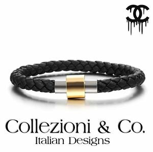 Mens-Stainless-Steel-Magnetic-Clasp-Black-Leather-Braid-8-034-Gold-Silver-Bracelet