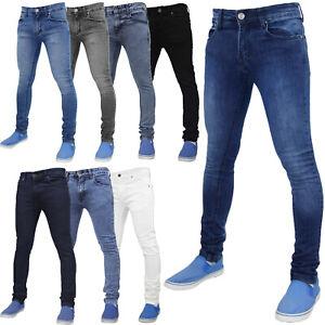 Mens-Jeans-Ajustados-Slim-Fit-Pantalones-basica-Super-Stretch-Denim-todos-los-tamanos-de-la-cintura