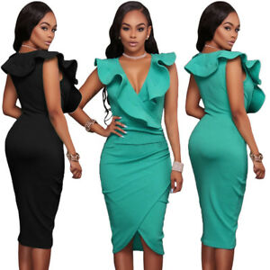 Sexy-Women-Sleeveless-Evening-Cocktail-Ruffle-V-Neck-Bodycon-Midi-Dress-Frill