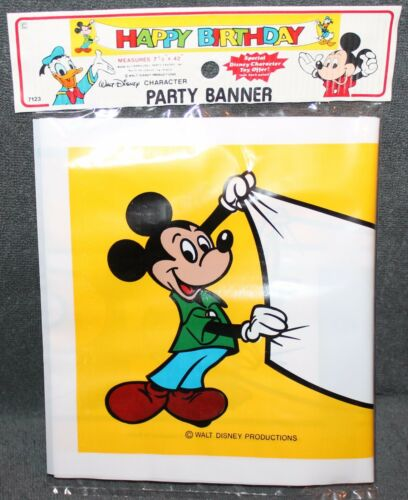 VINTAGE WALT DISNEY/'S MICKEY MOUSE PARTY BANNER BY CARROUSEL PRODUCTS