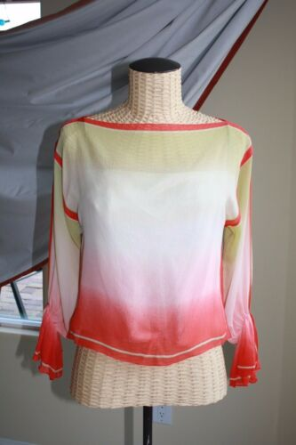 Vintage couture designer Women Top Blouse w Cami p