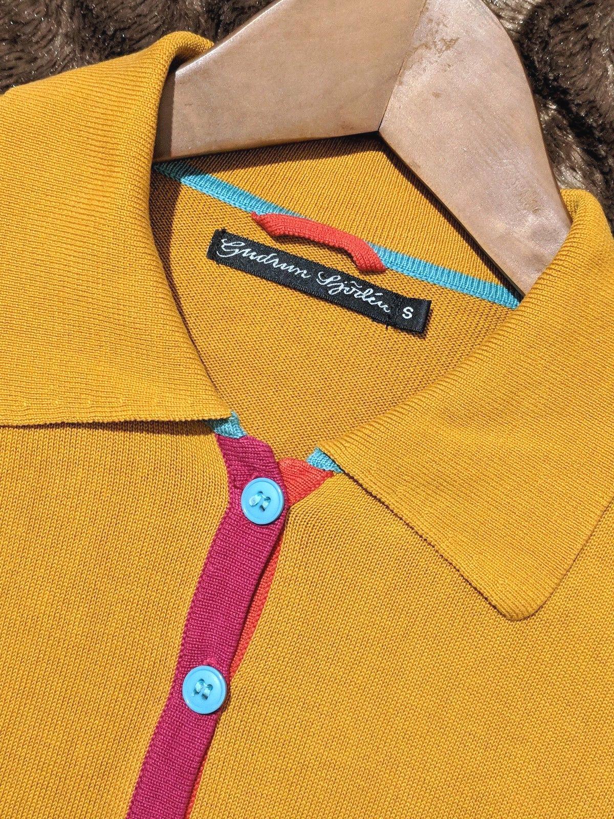 Gudrun Sjoden S Silk Cotton Blend Cardigan Knit Mustard Yellow Collar Button