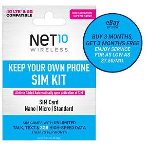 (3 Months Get 3 Months Free) Net10 5G/4G LTE Prepaid Plan + SIM Card Kit Buy