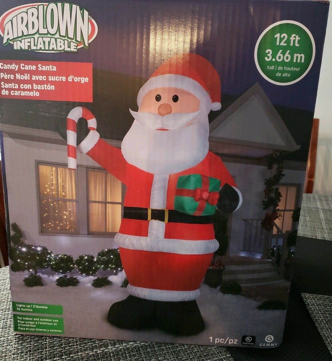 Sucre D Orge Exterieur christmas santa candy cane & gift 12 ft tall airblown inflatable yard led