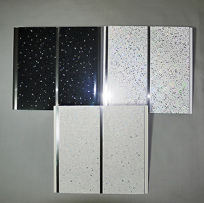 Black White Or Platinum Sparkle Chrome Bathroom 8mm PVC Wall Cladding Ceiling