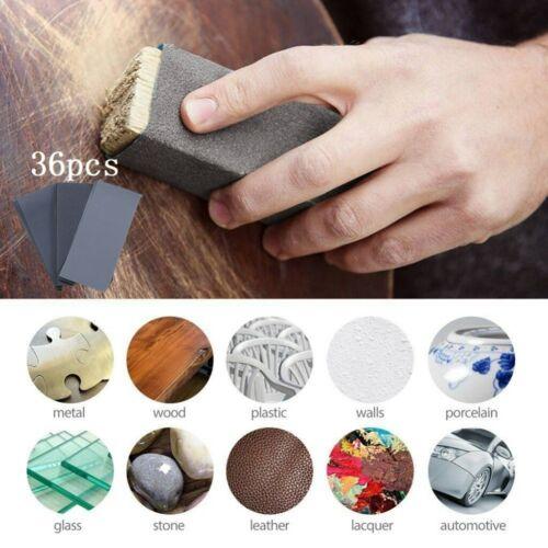 36pcs 400-3000 Grain Feuilles Papier Abrasif pour Poncer à sec à eau