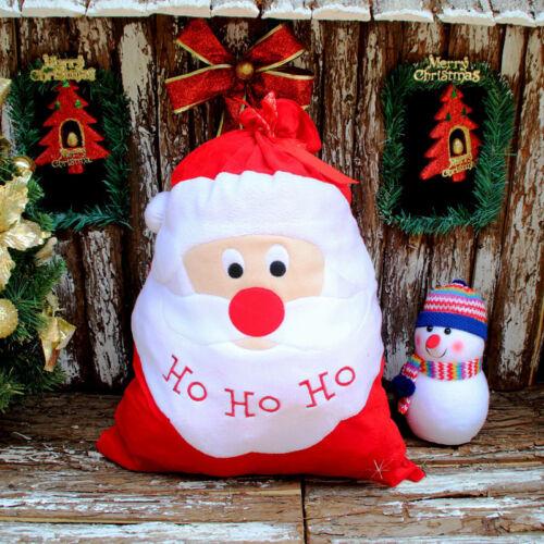 Christmas Santa Claus Large Cloth Gift Bags Print HO Xmas Present Sack Stocking