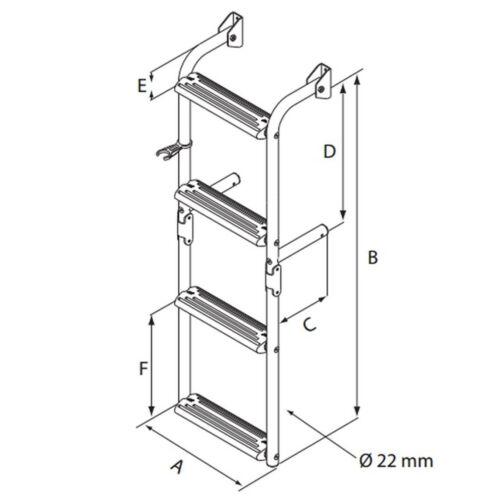 Lalizas// Nuova Rade Edelstahl Badeleiter für schmalen Spiegel 2 Größen klappbar