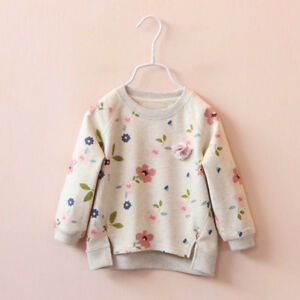 Kids-Toddler-Baby-Girl-Floral-Long-Sleeve-Warm-Tops-T-Shirt-Blouse-Colorful