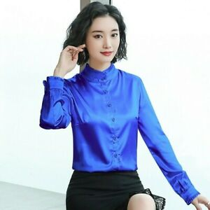 Lady-Satin-Silky-Basic-Shirt-Long-Sleeve-Button-Formal-Work-Shiny-Blouse-Top-New