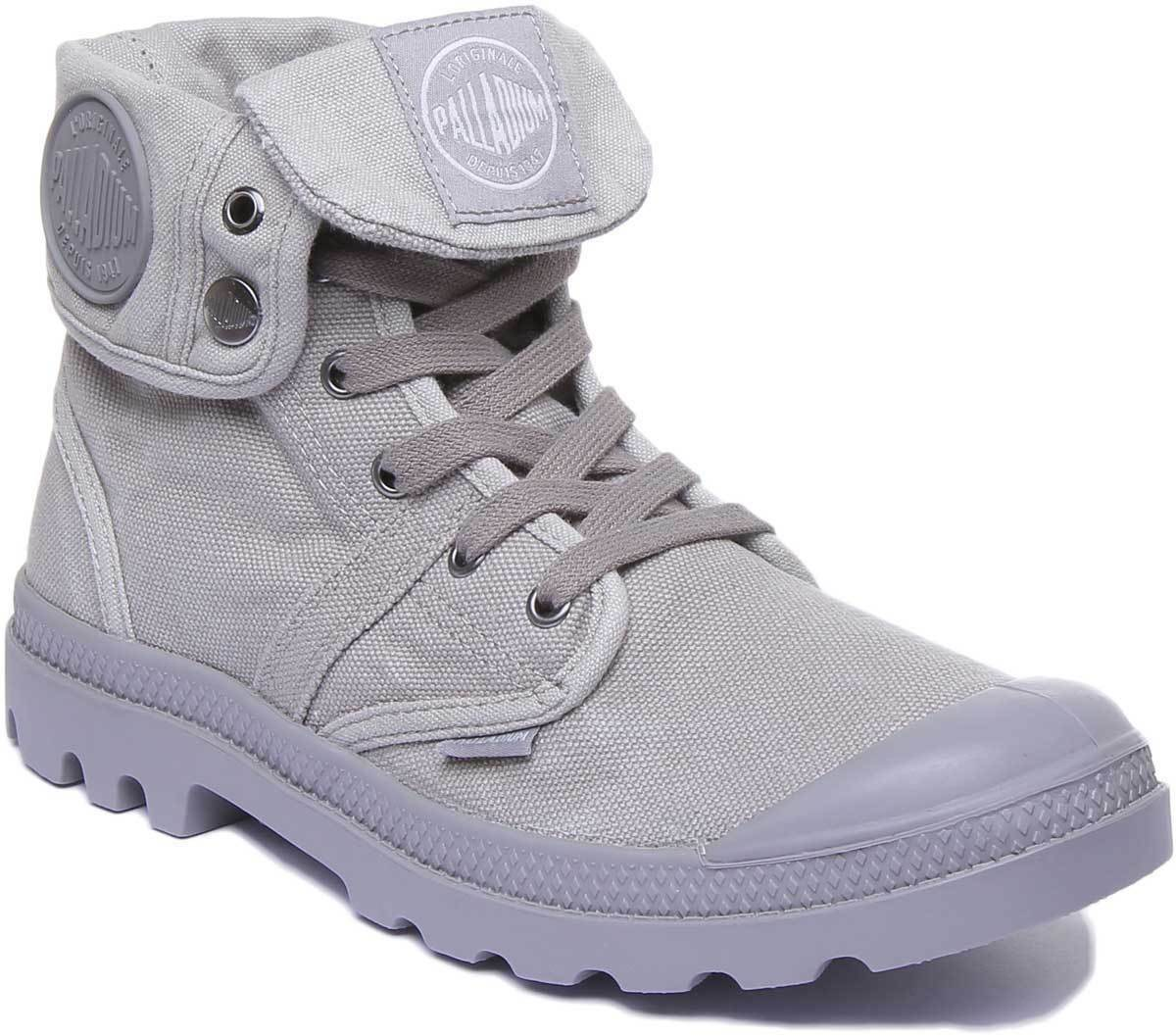 Palladium Pallabrouse Baggy Men Washed Canvas Grey Hi Top Boots UK Size 6 - 12