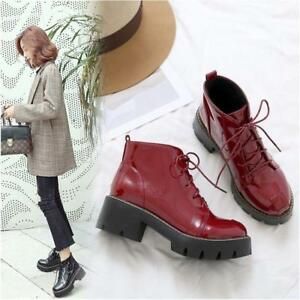 d3bd348319b Women s Fashion Patent Leather Lace Up Chunky Block Low Heels Ankle ...