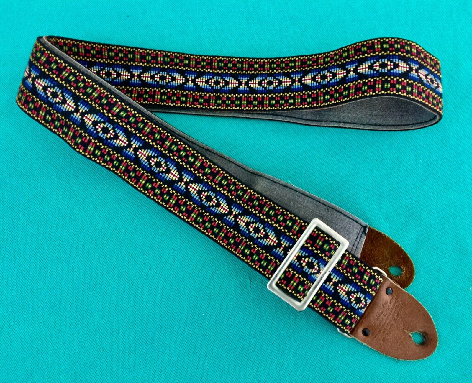 Vtg Bobby Lee Sottile Blau Bohemian Ace Style Woven Guitar Strap Made in USA