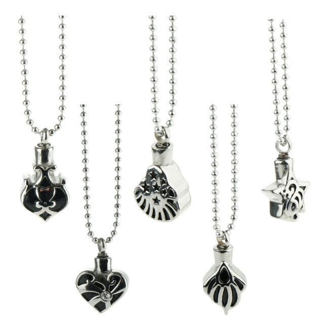 Women Men Waterproof Urn Necklace Stainless Steel Pendant with Beaded Chain
