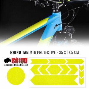Kit Adesivo Protezione Telaio Bicicletta MTB Rhino, Giallo Fluo, 35 x 17,5 cm