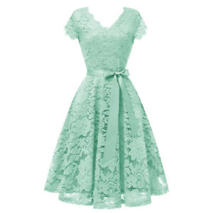 Details About Womens Lace Bridesmaid Dress Fit And Flare Cap Sleeve Party Cocktail Dresses