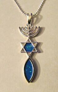 Jewish-Messianic-Seal-Symbol-Silver-Large-Pendant-Simulated-Opals-amp-Free-Chain