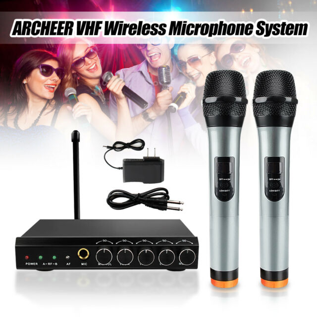 archeer vhf wireless bluetooth microphone system w 2 handheld mic for home ktv for sale online. Black Bedroom Furniture Sets. Home Design Ideas