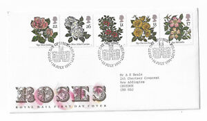 UK-Royal-Mail-First-Day-Cover-Roses-1991-Belfast