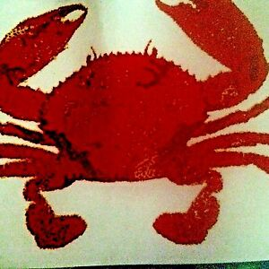 "Crab Placemats 13"" x 19"" 100% Cotton Set of Four Summer Beach NEW"