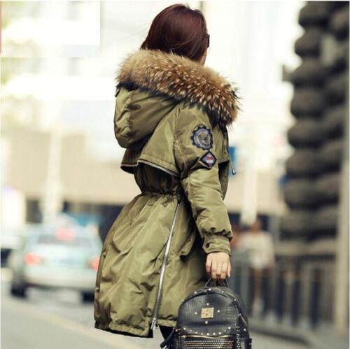 Damen Mode Kunstpelz Daunenjacke Winter jacke mäntel Parkas mit Kapuze Warm Neu
