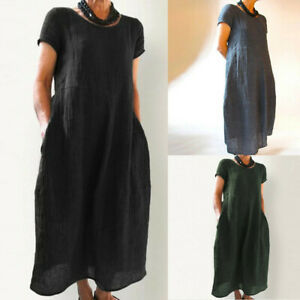 Women-Summer-Short-Sleeve-Pockets-Round-Neck-Linen-Casual-Loose-Long-Dresses