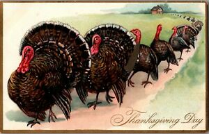 c1908-Antique-Tuck-Thanksgiving-Day-Postcard-Series-123-The-Turkey-Walk-A25