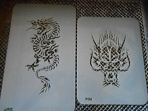 c5e63396a93f4 Image is loading Airbrush-Temporary-Tattoos-Stencil-Set-68-Fierce-Dragons-