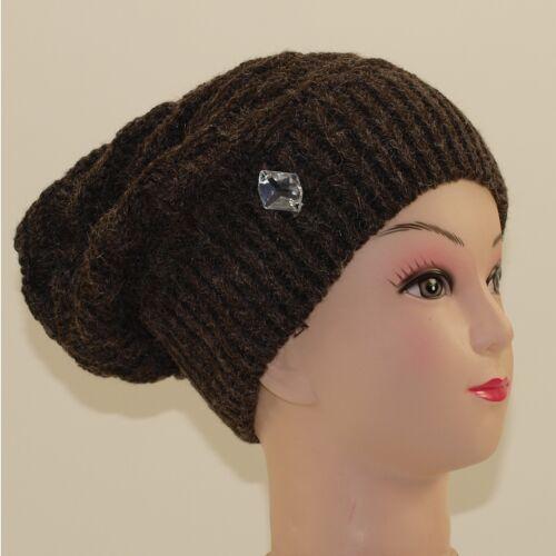 Mütze Beanie Strickmütze Winter Damen Herren Mützen ohne Bommel braun M4