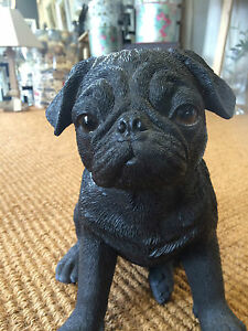 black-pug-Dog-Pug-garden-statue-Figure-sitting-black-Pug-realistic-life-like
