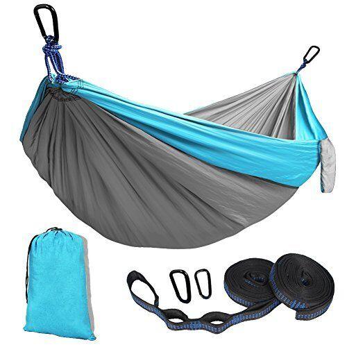 Double Camping Hamac Portable 2 Réglable Suspension Sangles Nylon Parachute