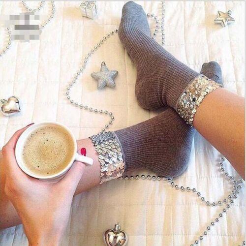 1 Pair Fashion Ladies Womens Girl Funky Glamorous Bling Sequin 4 Colors Socks QP
