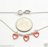 14 Kids Teens Enamel Heart Box Chain Necklace Real 925 Sterling Silver