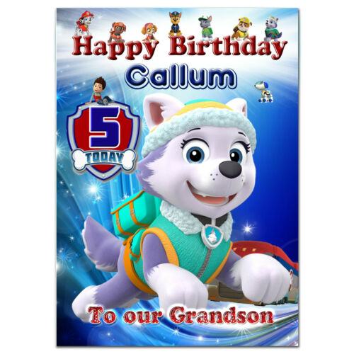 c300; Large Personalised Birthday card; made for any name; PAW Patrol Everest