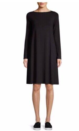Eileen Fisher schwarz Viscose Jersey Bateau Neck Dress Größe PP NWT