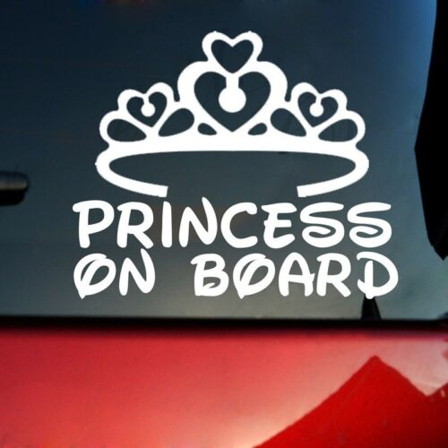 1X Car Sticker PRINCESS ON BOARD Popular Top White Window Bumper Sign Decal CY2Z