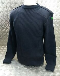 Genuine Irish Military & Police Spec Navy Crew Neck 100% Wool Pullover UK 42 JP4