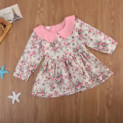 Kids Infant Newborn Baby Girl Long Sleeve Party Dresses Outfit Dress Clothes JAT