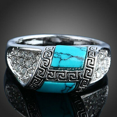 Charming Silver Plated Nice Turquoise Knurling Clear Rhinestone Ring