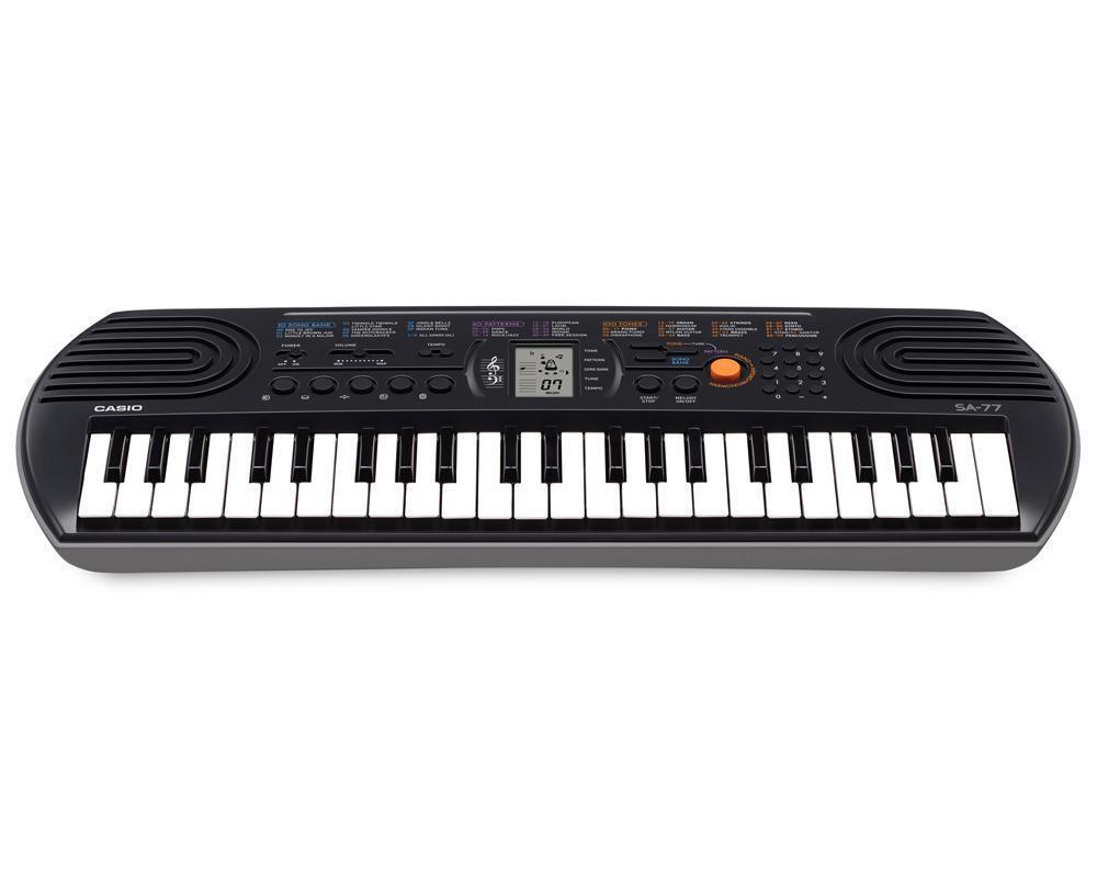 Kinder Casio Keyboard SA-77 mit 44 Tasten, Piano- & Orgelmodus, mit Lernfunktion