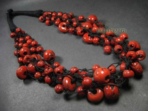 N4081 Tribal strand RED coral color glass beads Ethnic handmade NECKLACE TIBETAN