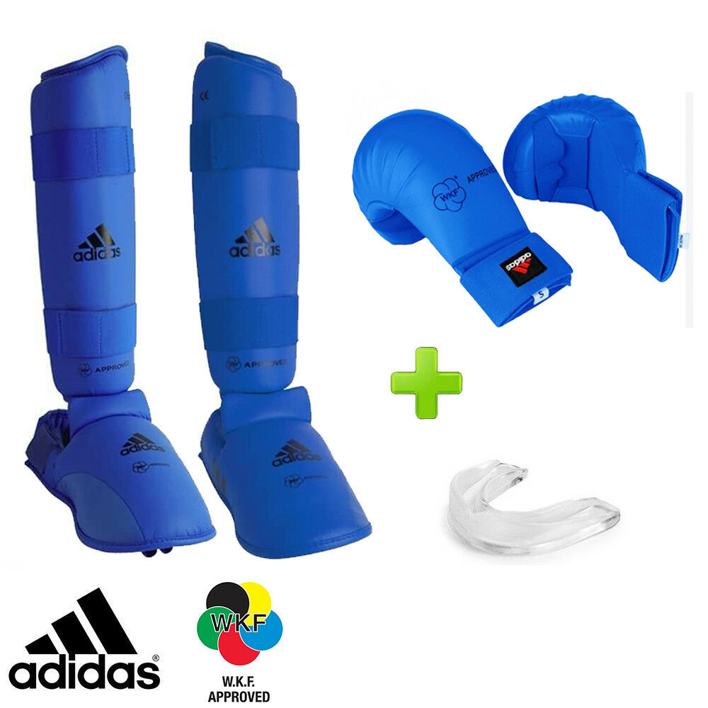 New  blueee adidas Karate WKF Competition Sparring Gear Set w  Mouthguard
