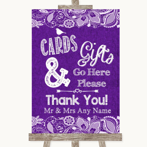 Purple Burlap /& Lace Cards /& Gifts Table Personalised Wedding Sign