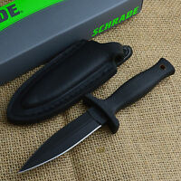 Schrade 7 Black Double Edge Tactical Boot Knife With Leather Sheath Schf19