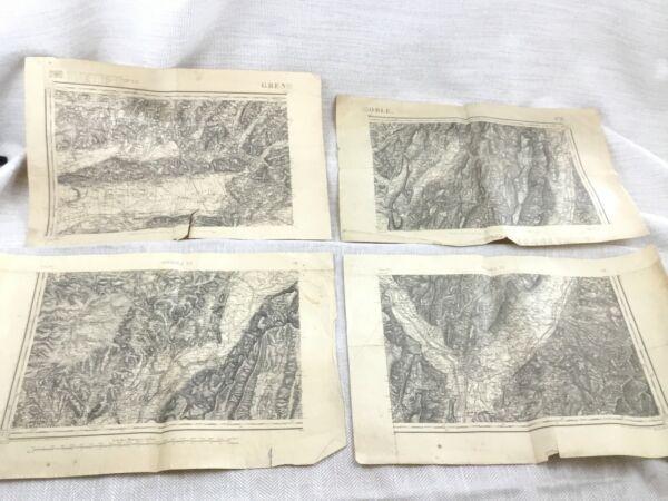 1888 Antik Französisch Karten Grenoble Auvergne Rhone Alpes 19th Jahrhundert