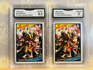 1984-Topps-2x-Eric-Dickerson-1-Rookie-8-8-5-NM-MT-GMA-Graded-Football-Card-LOT