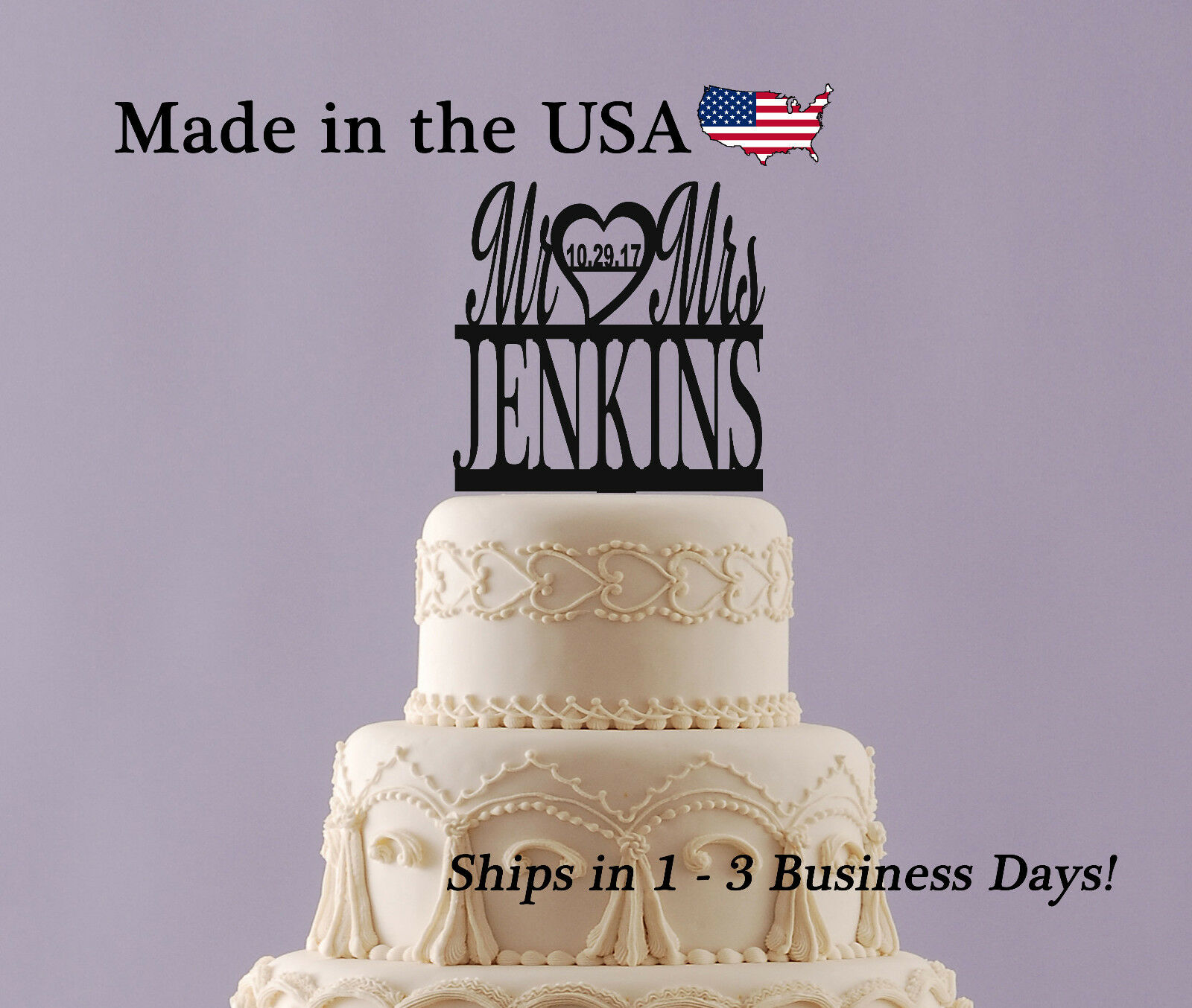 Mr Mrs Cake Topper Last Name Wedding Date Anniversary Personalized
