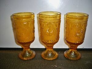 3-INDIANA-GLASS-AMBER-TIARA-PEDESTAL-GOBLETS-6-1-4-INCHES