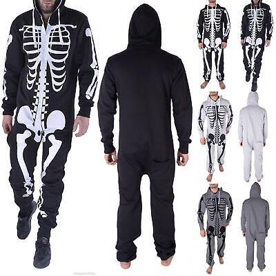 Mens Halloween Skeleton Bones Hooded Costume Scary Zip Up All In One Jumpsuit