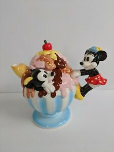 Rare-Disney-Mickey-Mouse-And-Minnie-Mouse-Ice-Cream-Teapot-Vintage-Japan
